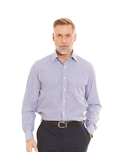 - Savile Row Men's Navy Bengal Stripe Classic Fit Shirt French Cuff 15 1/2