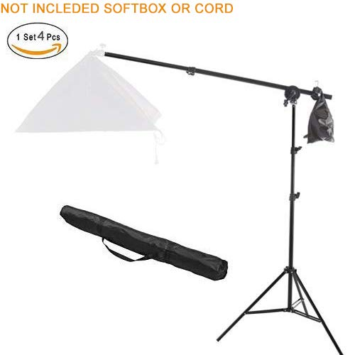 Meking Photography Telescopic Lighting Boom Arm Stand Kit with Light Stand + 78-138cm Boom Arm Holder + Light Bag + Sand bag for Photo Studio Shooting