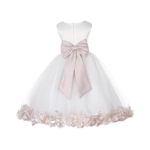 Wedding Pageant Flower Petals Girl Ivory Dress with Bow Tie Sash 302a 6 ()