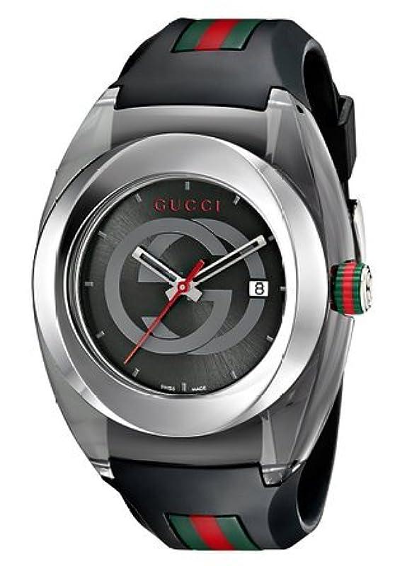 구찌 Gucci SYNC XXL YA137101 Stainless Steel Watch with Black Rubber Bracelet 남성 맨즈 손목시계 【병행수입품】