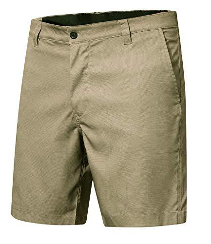 Men's Cool Waterproof Hidden Expandable Waist Plain Front Classic Fit Golf Shorts,Khaki,XXL