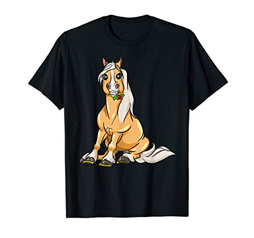 Cute Haflinger Horses Girl T-Shirt Funny Comic Horse Riding T-Shirt