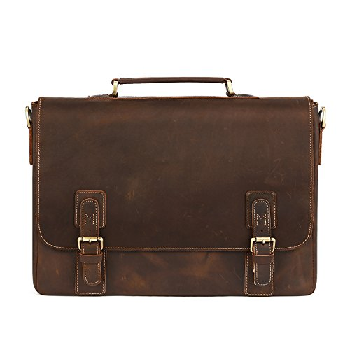 Kattee Men's Leather Satchel Briefcase, 16' Laptop Messenger Shoulder Bag Tote