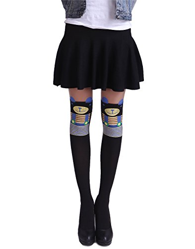 HDE Women's Cute Tattoo Print Stockings Novelty Design Sheer Tights Pantyhose