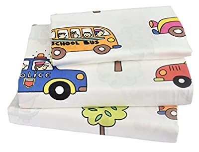 J-pinno Cute Cartoon Printed Twin Sheet Set for Kids Boy Children,100% Cotton, Flat Sheet + Fitted Sheet + Pillowcase Bedding Set