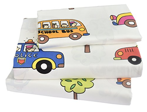 n School Bus Police car Fire engines, 100% Cotton 210 Thread Count 3-Pieces Twin Bedding Set, Flat Sheet + Fitted Sheet + Pillowcase (1) (Cotton Fire Engine)