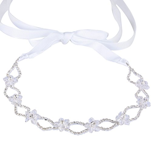 EVER FAITH Silver-Tone Austrian Crystal Beaded Hibiscus Flower Wave Ribbon Hair Band Headpiece (Hibiscus Ribbon)
