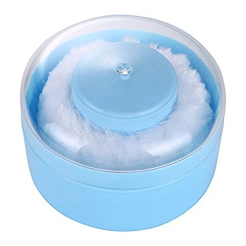 Tobo Digital Portable Soft Fluffy Baby Body Automatic Powder Puff Dusting Powder Container Talcum Powder Box Case Kit and Puffs with Handle - Light Blue & ()