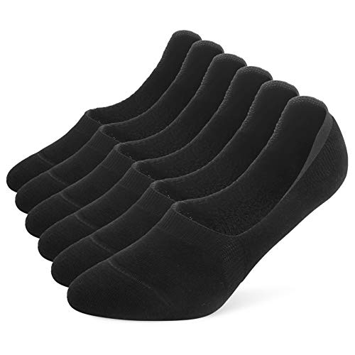 Leotruny 6 Pairs Women's Thick Cushion Athletic Cotton Non Slip Low Cut Falt Liner No Show Socks (Women shoe size:8.5-11, C02-Black)