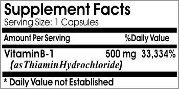 B-1 Vitamin 500mg * 200 Capsules 100 % Natural - by EarhNaturalSupplements
