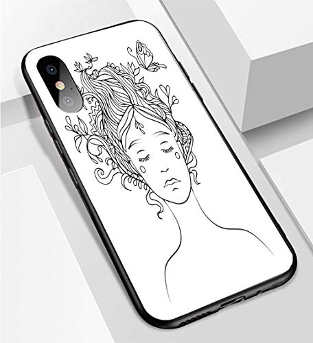 iPhone X/XS Ultra-Thin Phone case Black line Vector Drawing of Girls Portrait with Ornamental Hair and Flying Butterfly Coloring Page Anti-Drop Anti-Slip Soft Convenient Protective Shell ()