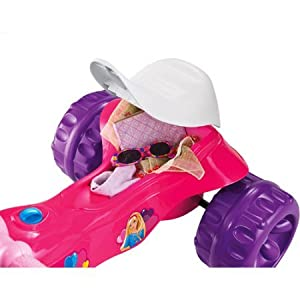 Fisher Price Kids Pink Purple Barbie Tough Trike Pedal and Push Toddler Tricycle for Girls with Wide Wheelbase