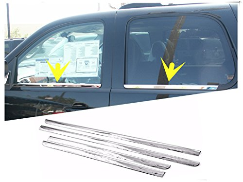 eLoveQ Polished Stainless Steel Chrome Window Sill Trims FOR 2007-2014 Chevrolet Suburban