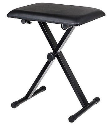 Black Adjustable Piano Keyboard Bench Leather Padded Seat Folding Stool Chair Folding Stools C-145