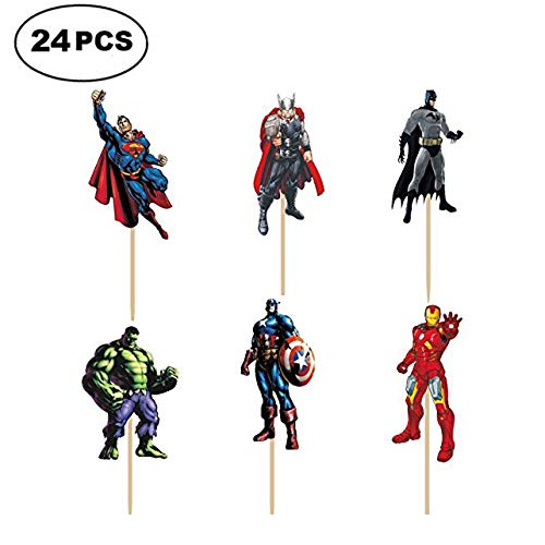 SUYEPER 24 PCS The Avengers and Superheroes Cupcake Topper Children Party Decoration Boy's Birthday Party Decoration Supplies -