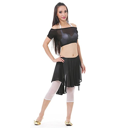 Black Two Piece Dance Costumes - AvaCostume Women's Belly Dance Costume Sets Tops Skirt 2 Pieces Black