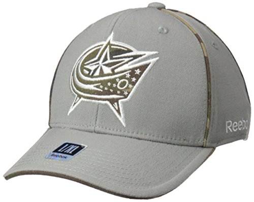 fan products of NHL Columbus Blue Jackets Men's SP17 Gray Camo Structured Flex Cap, Gray, Large/X-Large