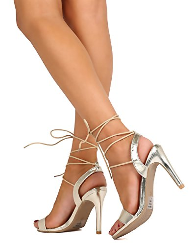 BETANI FC64 Women Metallic Leatherette Open Toe Gilly Tie Stiletto Sandal - Light Gold xNgtJnH7x