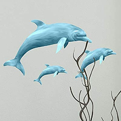 Amaonm Removable 3 Pcs Jumping Blue Dolphin Wall Decals DIY Wall Stickers 3D Nursery Art Decor Peel Stick Decoration Decal for Girls Bedroom Kids Bathroom Living Room Window Door Sticker Murals: Home & Kitchen
