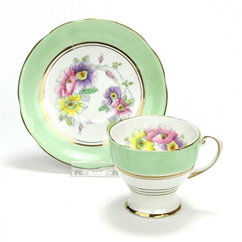- Demitasse Cup & Saucer by Royal Standard, China, Green Floral Design