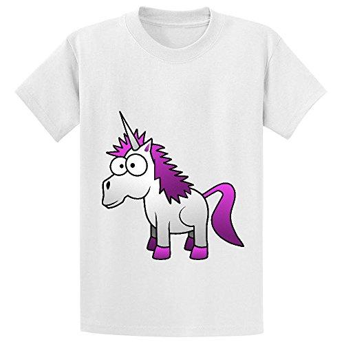 (Andy Unicorn Cute Youth Crew Neck Print T Shirt White)