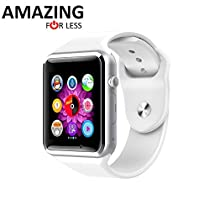 Amazingforless Bluetooth Touch Screen Smart Wrist Watch Phone with Camera - White