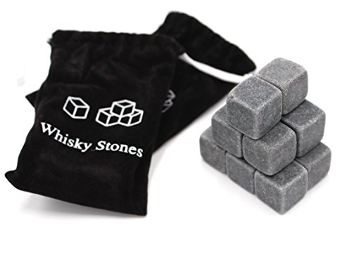 Set of 18 - Pure Soapstone Reusable Chilling Rocks for Whiskey - No Water Dilution & Perfect For Liquor, Wine and Other Beverages - With 2 Velvet Bags Included (Grey Color) by FIVOENDAR