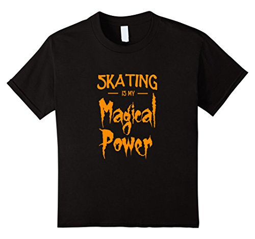 [Kids Skating Is My Magical Power T-Shirt Funny Halloween Gift 6 Black] (Ice Skating Costume Ideas)