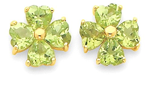 14k Yellow Gold Heart Shaped Green Peridot Flower Post Stud Earrings Drop Dangle Ball Button Gardening Love Gemstone Fancy Fine Jewelry Gifts For Women For Her