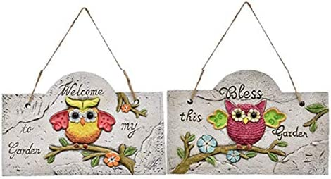 Rustic Owl Theme Hanging Garden Signs Plaques Home Kitchen
