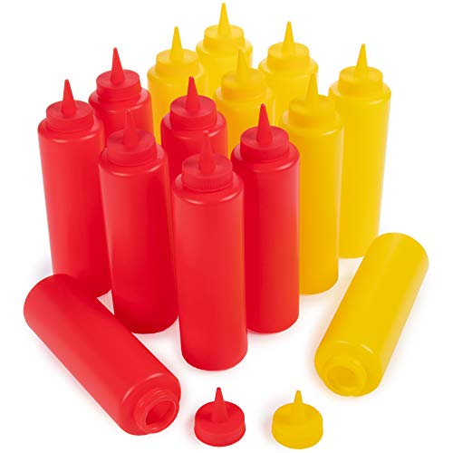 Ketchup and Mustard Squeeze Bottle Value Combo Pack   14-pack, 16-oz Plastic Kitchen Table Condiment Squirt Dispenser Bundle   Restaurant Supplies for Food Truck, Grilling, Dressing, BBQ Sauce, -