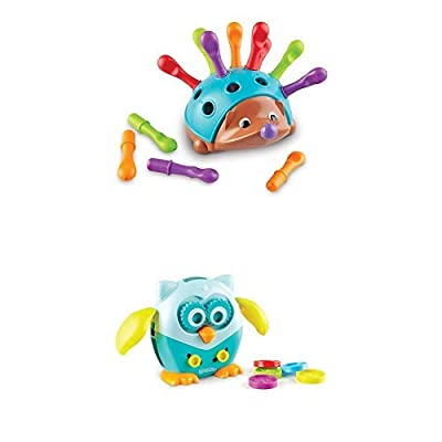 Learning Resources Fine Motor Friends Bundle, Spike The Fine Motor Hedgehog & Hoot The Fine Motor Owl, 2 Pack, Ages 18 mos+: Toys & Games