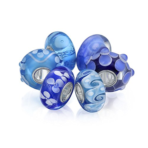 Light Blue Floral Murano Glass Mix Set Of 6 Sterling Silver Spacer Bead Fits European Charm Bracelet For Women For Teen