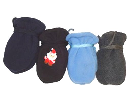 Four Pairs Finest Multicolor Mongolian Fleece Mittens for Infants Ages 3-12 Months by Gita