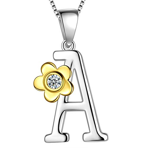 (Aurora Tears Initial Letter A Daisy Flower Necklace 925 Sterling Silver 18k Gold Plated Charm Alphabet Pendant Two-Tone Gold Plated Jewelry DP0141A)