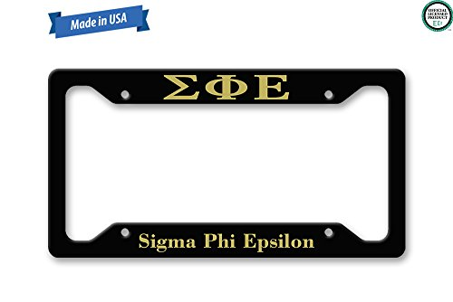 The Turnip Seed Co Sigma Phi Epsilon - SigEp - License Plate Frame LP1294 (Black/Gold)