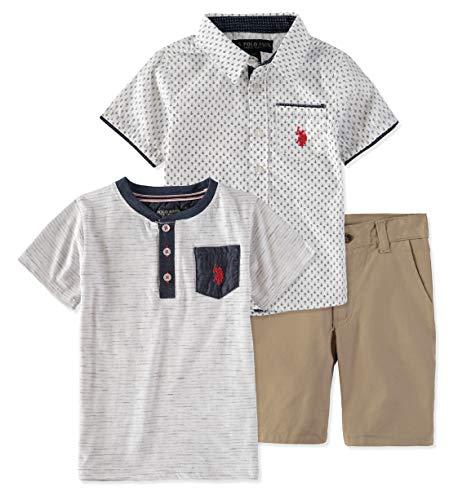 (U.S. Polo Assn. Boys Sleeve, T-Shirt and Short Set (5, White/Navy Print))