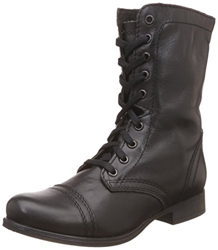 Steve Madden Women's Troopa Lace-Up Boot, Black Leather, 8 M US