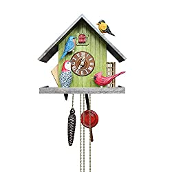 The Backyard Birds Authentic German Cuckoo Clock w/Ltd Edition birds hand carved by American Artist Lance Long. Animated Blue Bird & Cardinal. Goldfinch & Woodpecker for bird lovers!