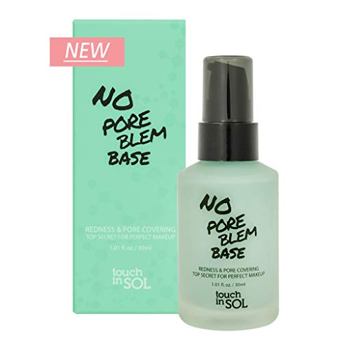 TOUCH IN SOL No Pore Blem Redness Correcting Base 1.01 fl.oz (30ml) - Redness Cover Green Toned Perfect Makeup Pore Tightening Primer Base, for Acne Prone & Sensitive Skin