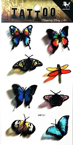 PP TATTOO 1 Sheet Colorful Dragonfly Butterfly Animal Tattoo Cartoon Sticker Waterproof Temporary Tattoos for Men Girls…
