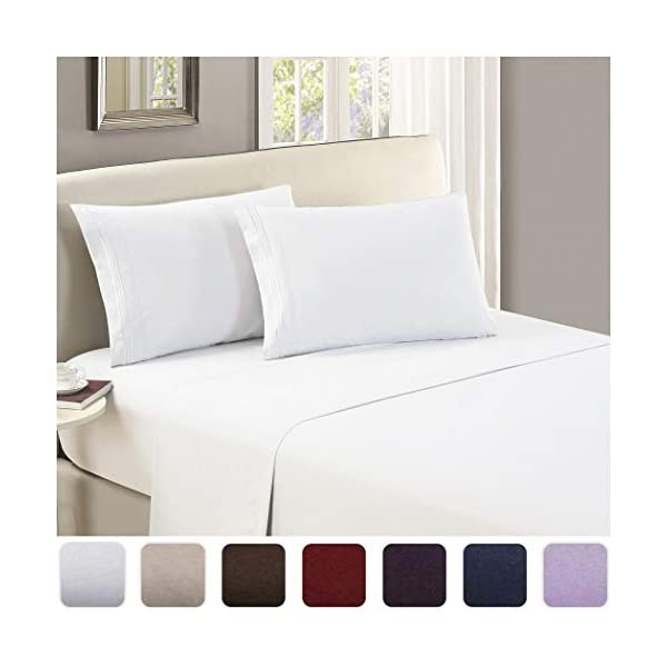 Mellanni Flat Sheets 1800 Bedding Collection 2020