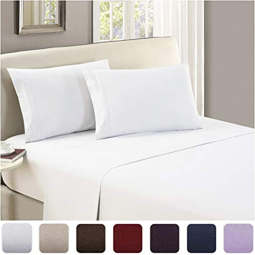Mellanni Luxury Flat Sheet - Brushed Microfiber 1800 Bedding Top Sheet - Wrinkle, Fade, Stain Resistant - Ultra Soft - Hypoallergenic - 1 Flat Sheet Only (King, White)