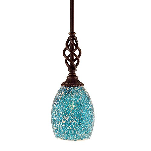 Toltec Lighting 80-DG-5055 Elegante Mini Pendant with Hang Straight Swivel with 5″ Turquoise Fusion Glass, Dark Granite Finish