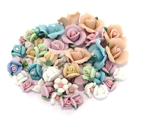 (Linpeng Porcelain Craft Scrapbook and Jewelry Making-Vintage Rose Clay Flower Matte Surface Beads Assorted-Pastel Color-30 Pcs, Asst.)