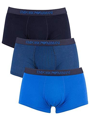 Emporio Armani Men's 3-Pack Cotton Trunks, Wave/Printed Marine, Large