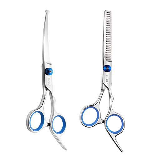 Elfirly Dog Grooming Scissors Set with Safety Round Tip (2 Pack - Curved Scissors Thinning Shears for Grooming) Pet Grooming Shears for Dogs and Cats