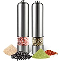 Electric Salt and Pepper Grinder Set - Automatic, Refillable, Battery Operated Stainless Steel Spice Mills with Light…