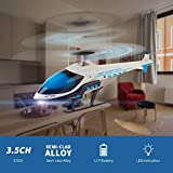 RC Helicopter, KOOWHEEL S810 Remote Control Helicopter 3.5 Channel Hobby Alloy Mini RC Plane with Gyro and LED Light for Indoor Use Ready to Fly, Toy Gift for Kids and Adults (Blue)