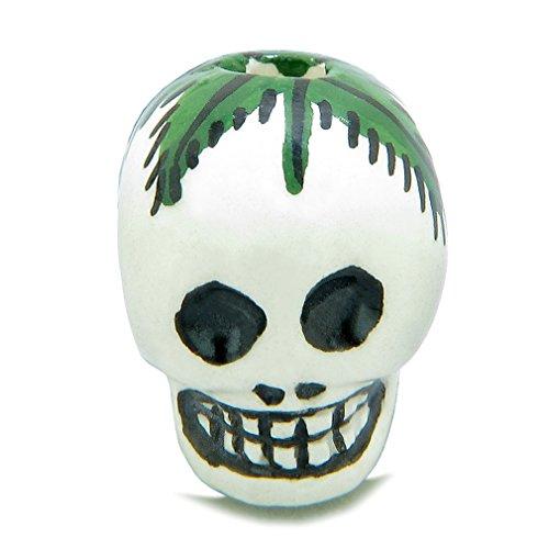 10 Pieces DIY 3D Ceramic Handcrafted Skull Head Painted Cannabis Hemp Leaf 18mm X 15mm Large Hole -